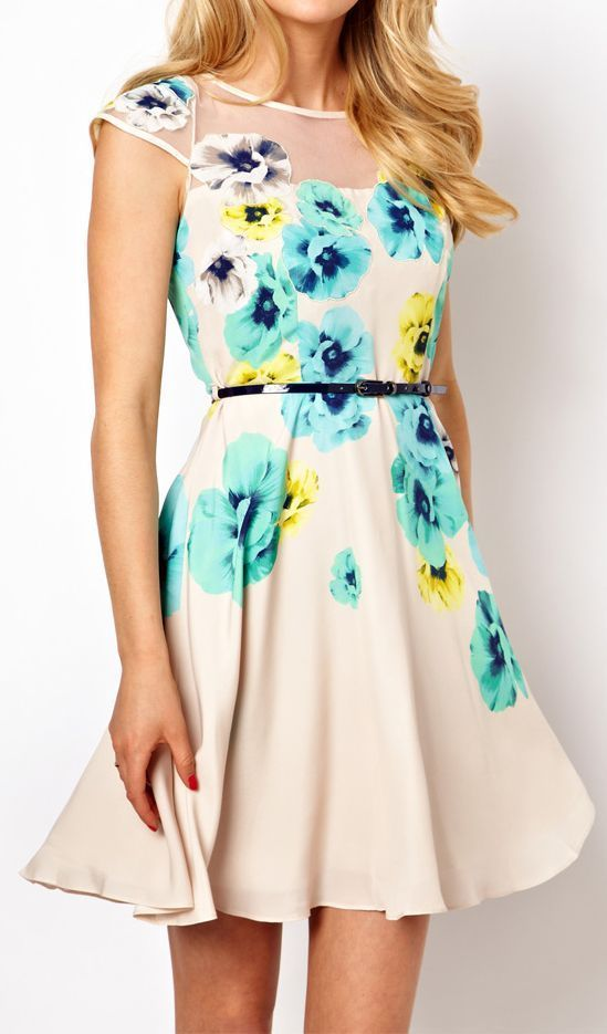 Apricot Short Sleeve Embroidery Floral Dress
