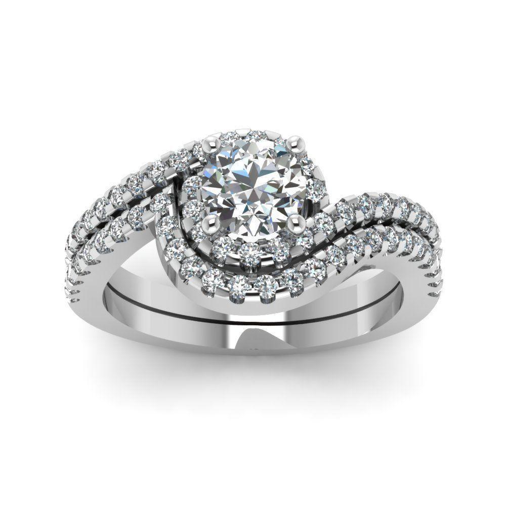 7f1a2b4c9 round cut swirl halo diamond wedding ring sets in FDENS1295RO NL WG  #weddingring