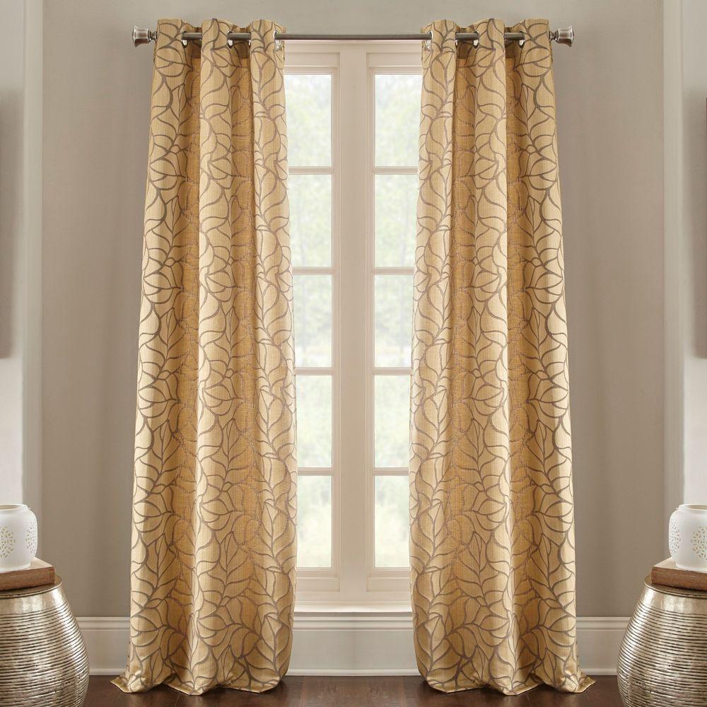 Geometric Design Jacquard Grommet Window Curtain Panels Set of 2 Savanna Pair