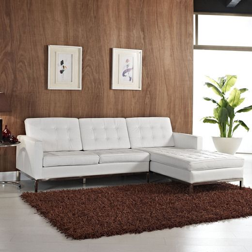 Modway Loft Right Arm Leather Sectional Sofa In White The Great - Fina-leather-sofa-by-athomeusa