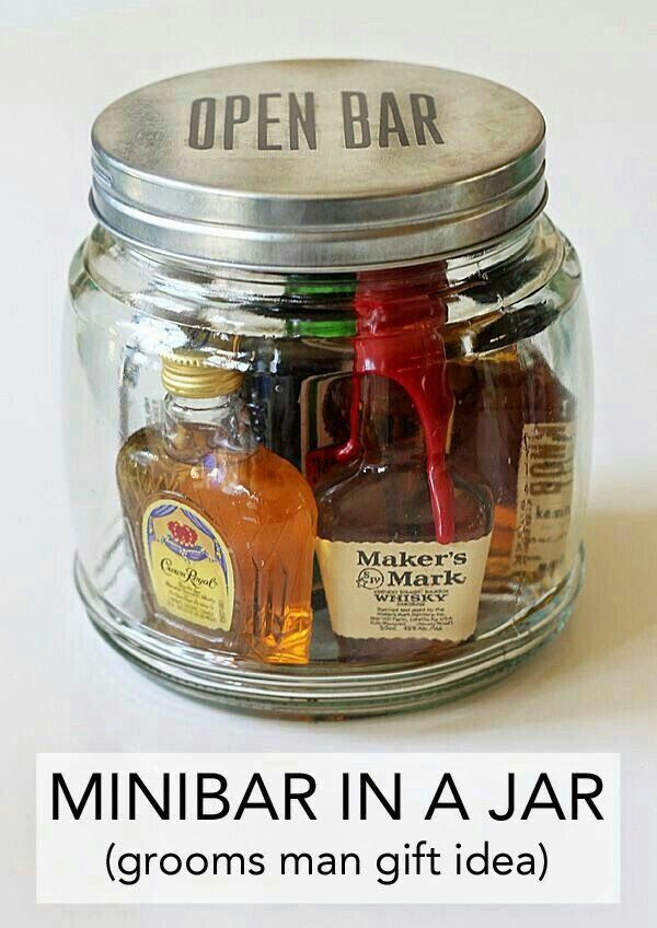 Groomsmen S Gift Idea Open Bar Mini Bar In A Jar Gifts For Wedding Party Jar Gifts Diy Gifts For Men