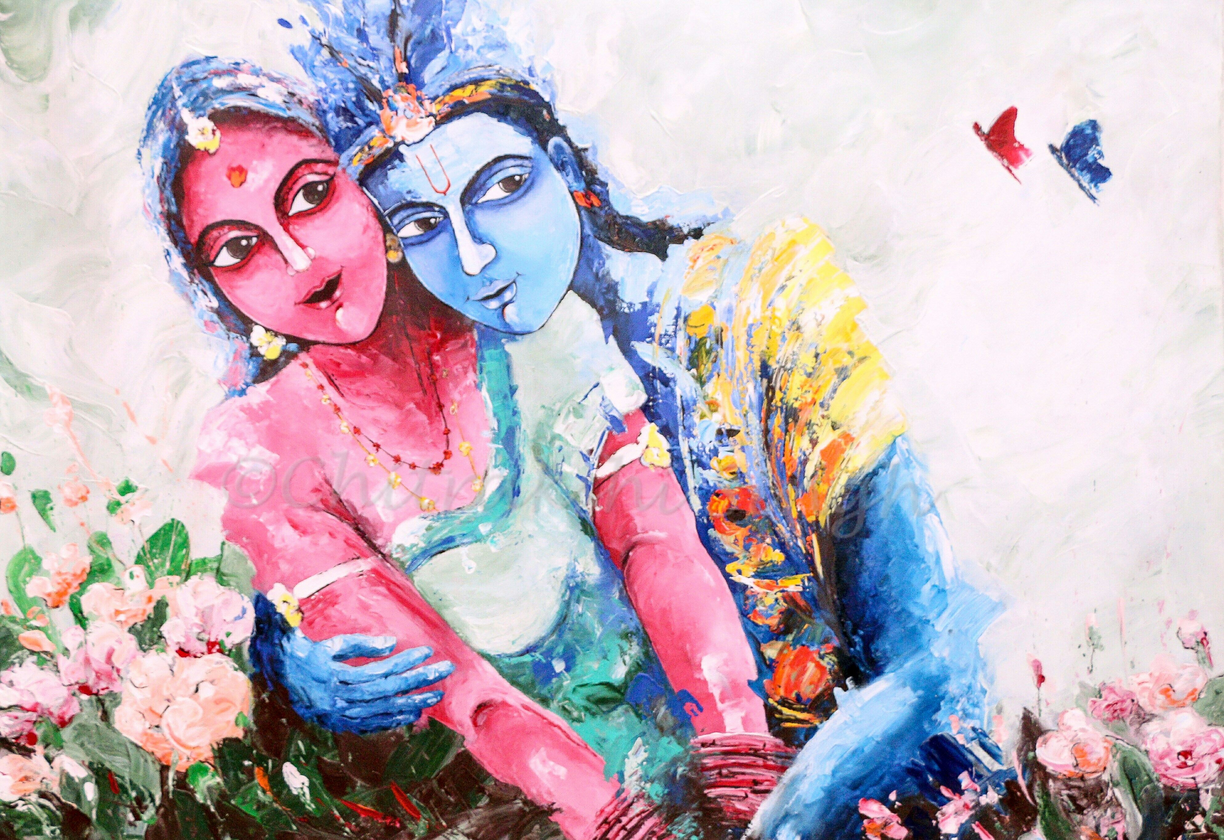 A Beautiful Painting Of An Eternal Love Story Of Lord Krishna