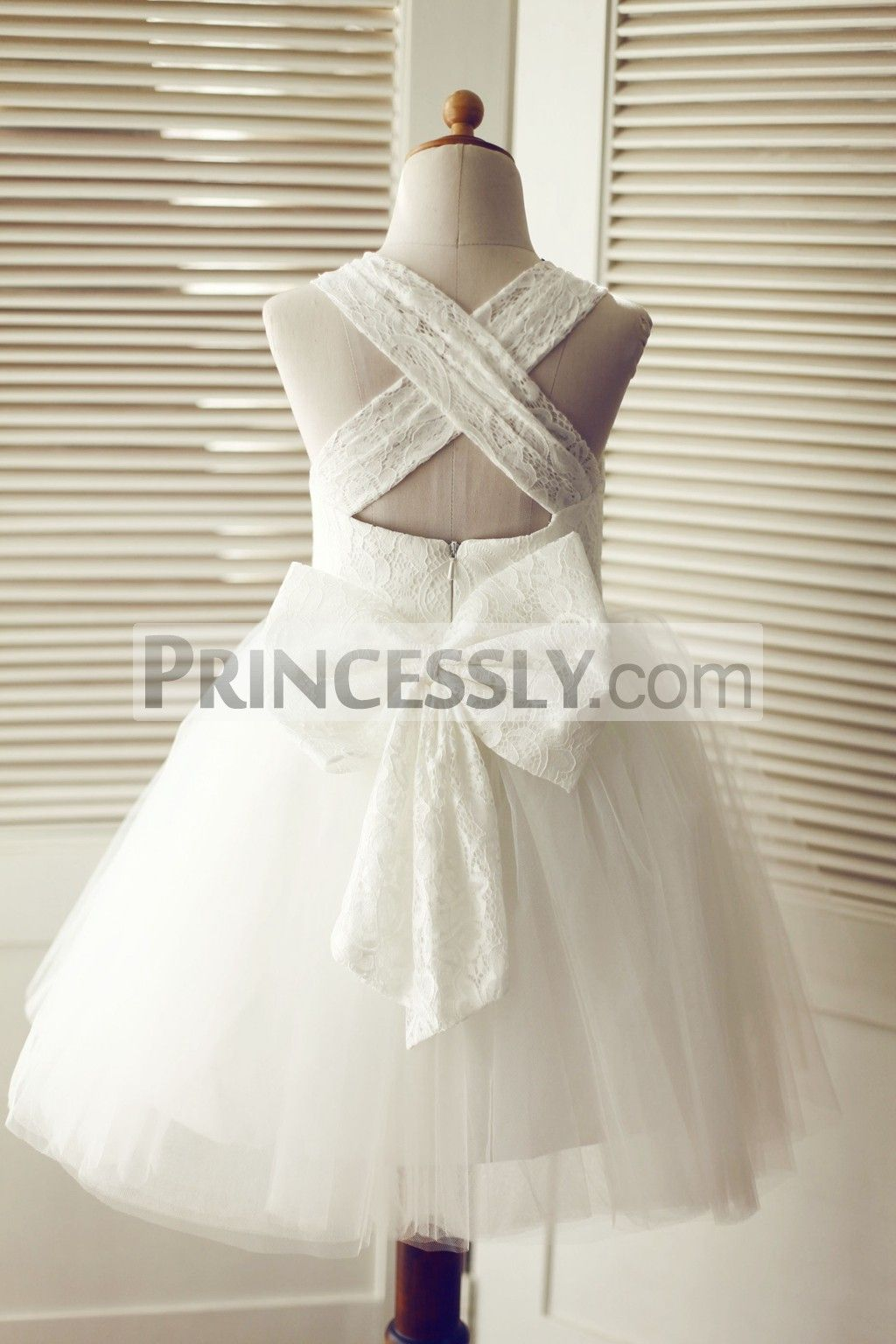 047478153a5cf Backless Ivory Lace Tulle Wedding Flower Girl Dress with Big Bow