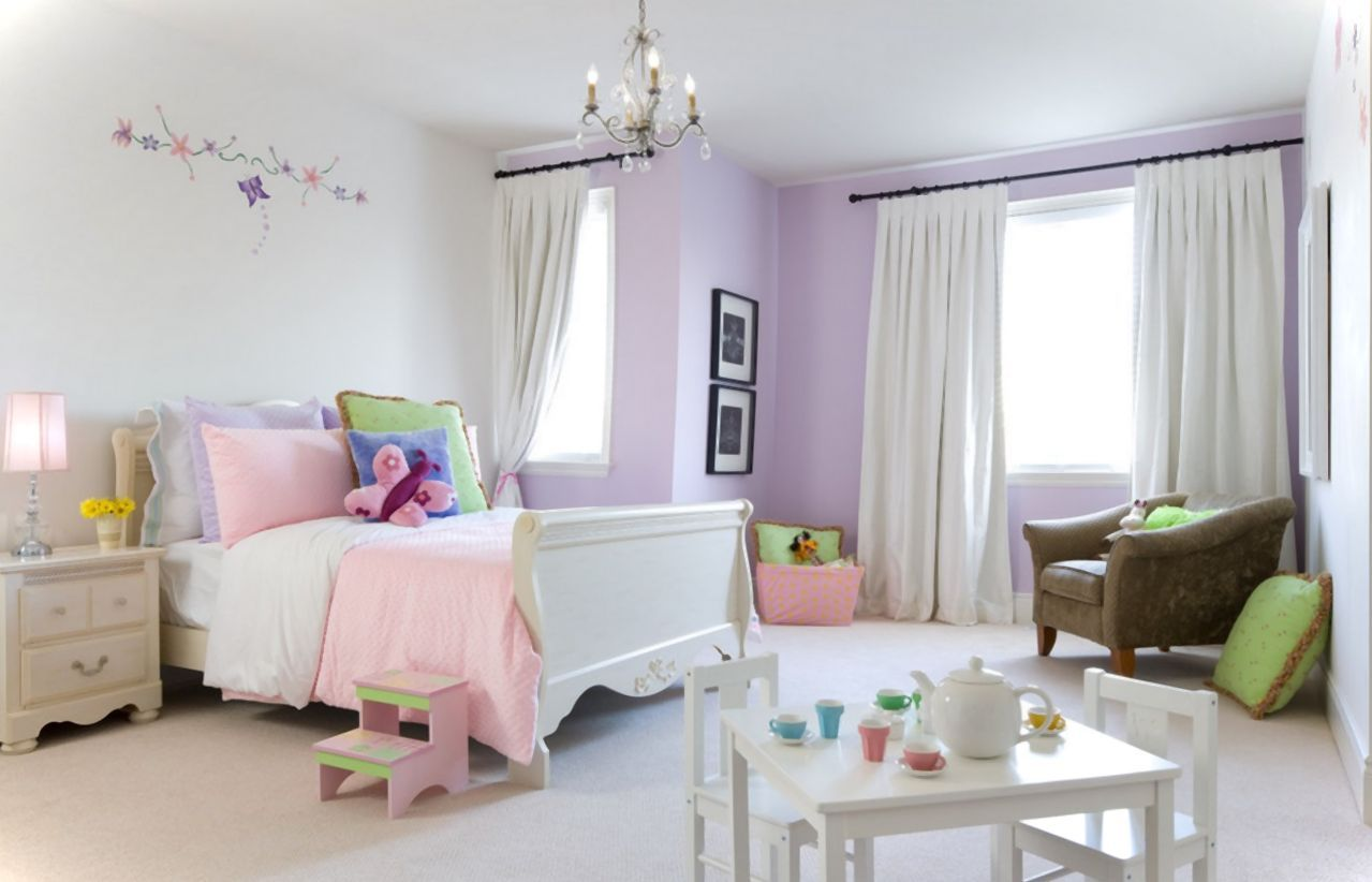 Lilac And Pink Girl Bedroom Home Designs Traditional Kids Bedroom Pink Bedroom Decor Girls Room Design