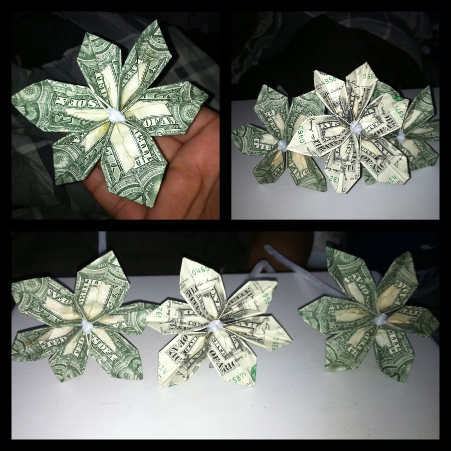 Money Origami Flower Made With 3 Dollar Bills Pinned It Then