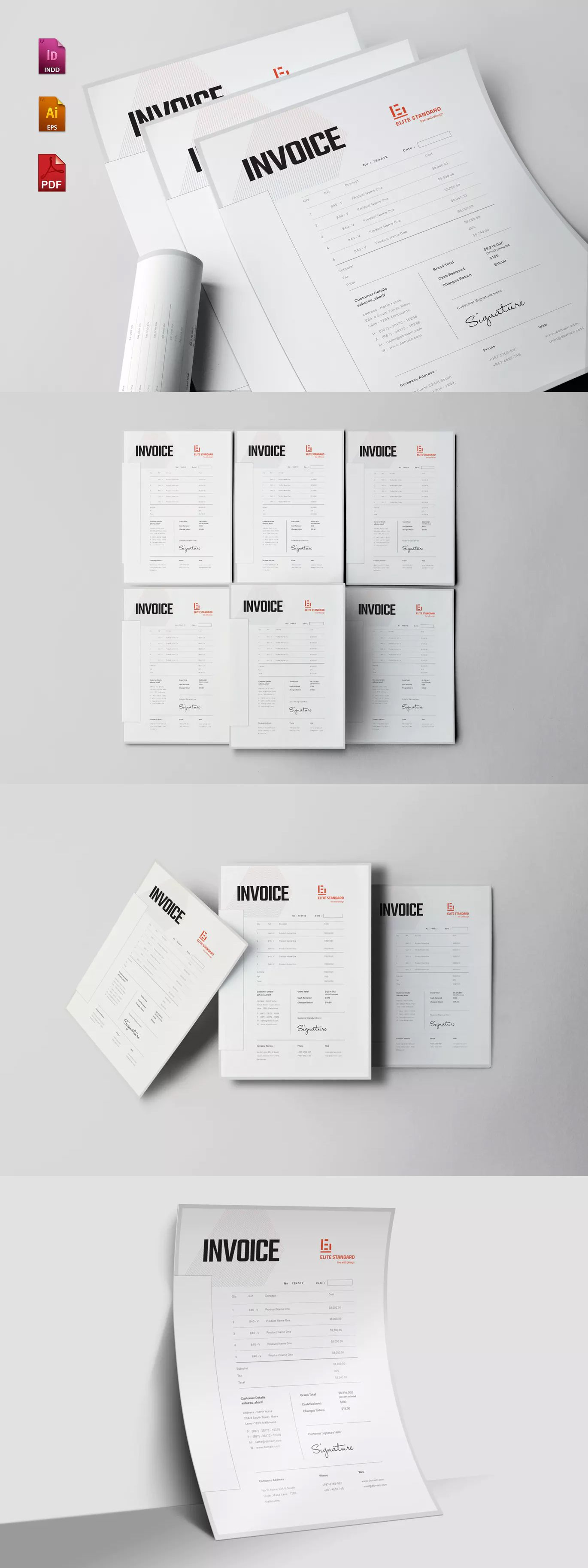 Invoice Template EPS, INDD - A4 and US Letter Size | Invoice ...