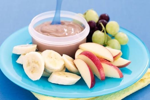 Banana and hazelnut yoghurt fruit dip  2 tablespoons chocolate hazelnut spread  200g low-fat banana honey yoghurt  1 red delicious apple, cored, cut into thin wedges  1 banana, peeled, sliced  1 small bunch (100g) red grapes  1 small bunch (100g) green grapes Place spread in a bowl. Add yoghurt, 1 tablespoon at a time, stirring to combine. Spoon into bowl. Serve with fruit.
