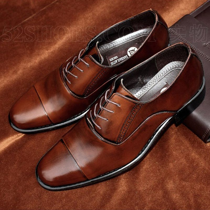 Men Shoes Business Dress Pointed Flats Genuine Leather Flat Brand Oxford Office Shoe For