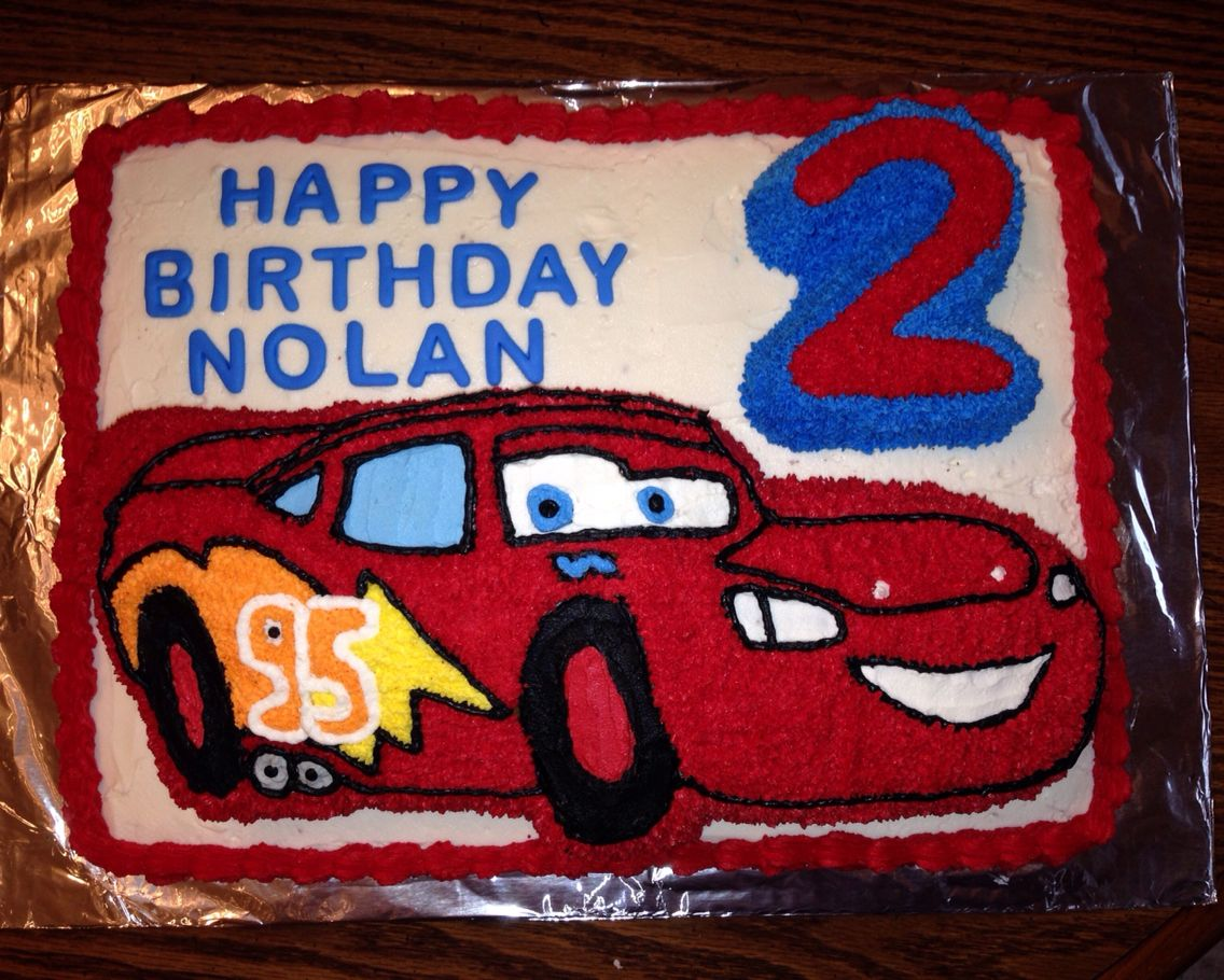 Lightning McQueen cake I made for my nephews 2nd birthday Used