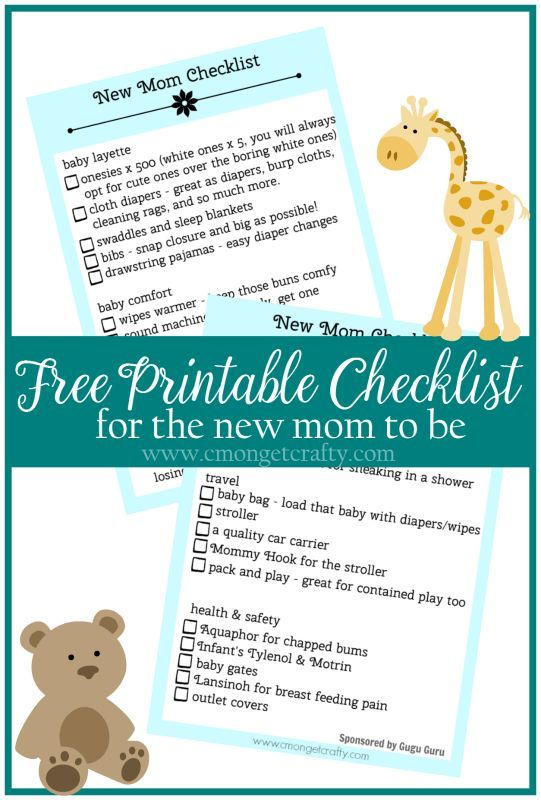 Free Printable Checklist for the New Mom in Your Life Baby