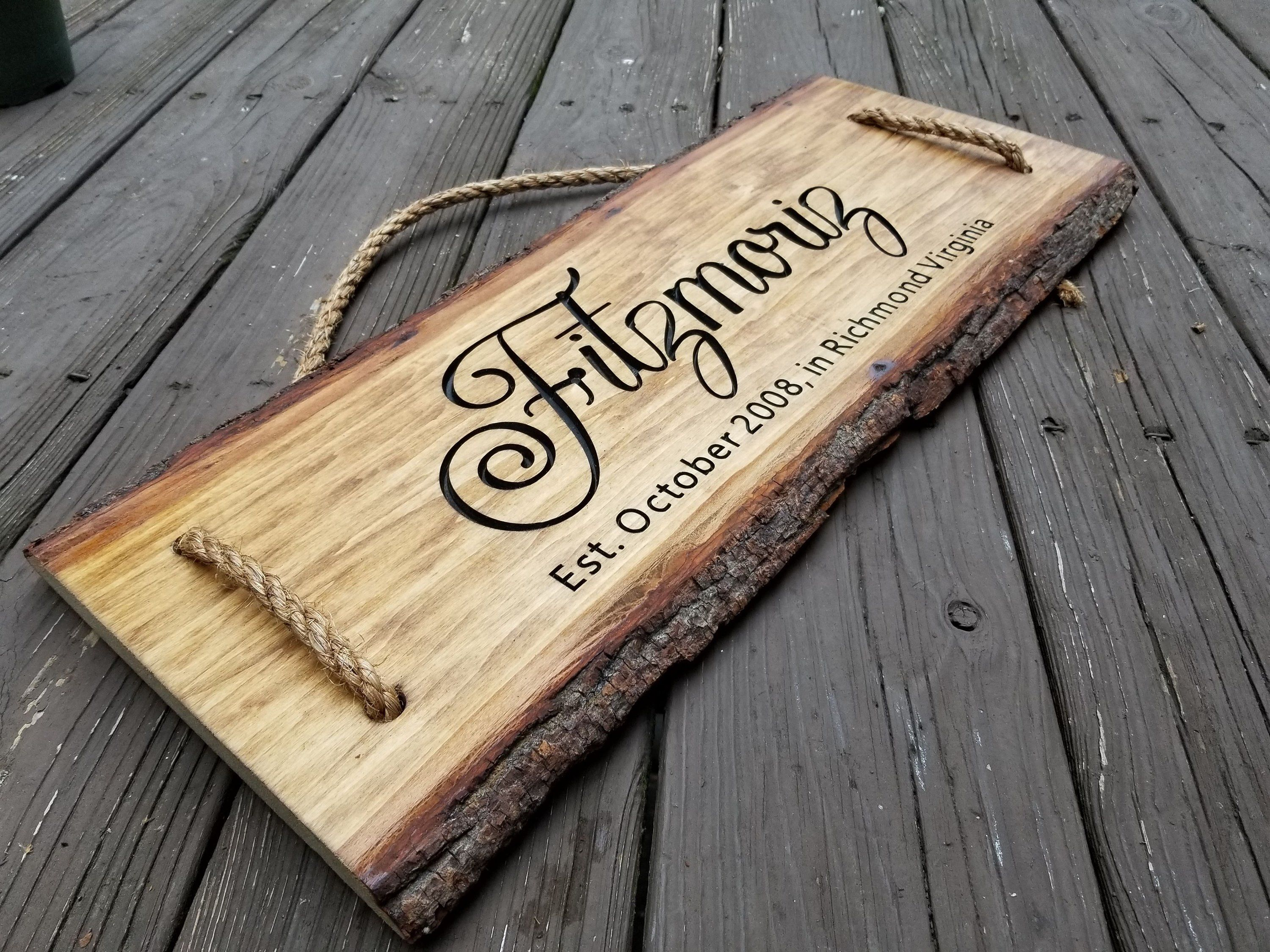 Personalized Wedding gift, Wood Bark, Live Edge Wood