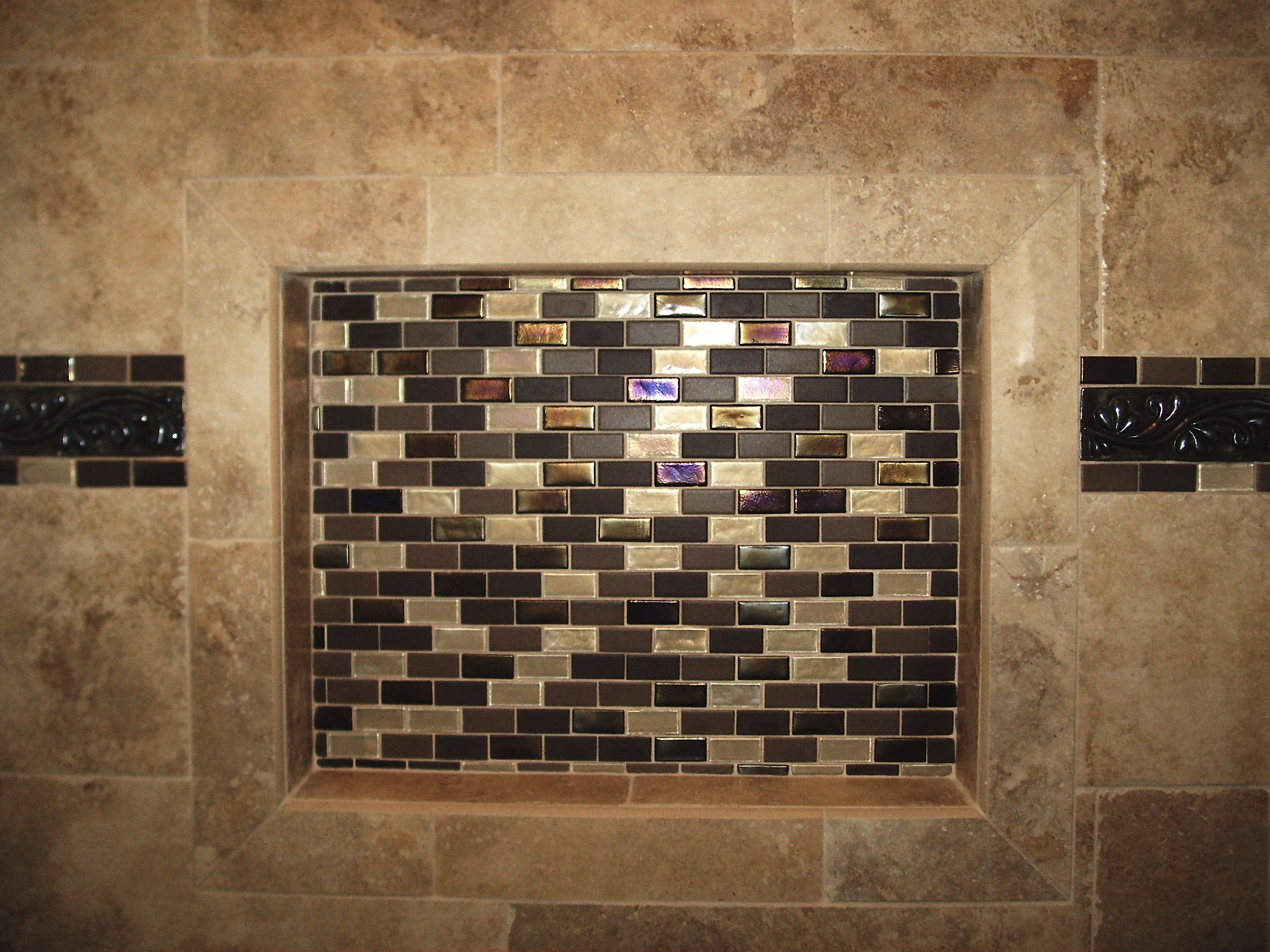 Shower niche with glass tile mosaic tile pinterest Mosaic tile designs for shower