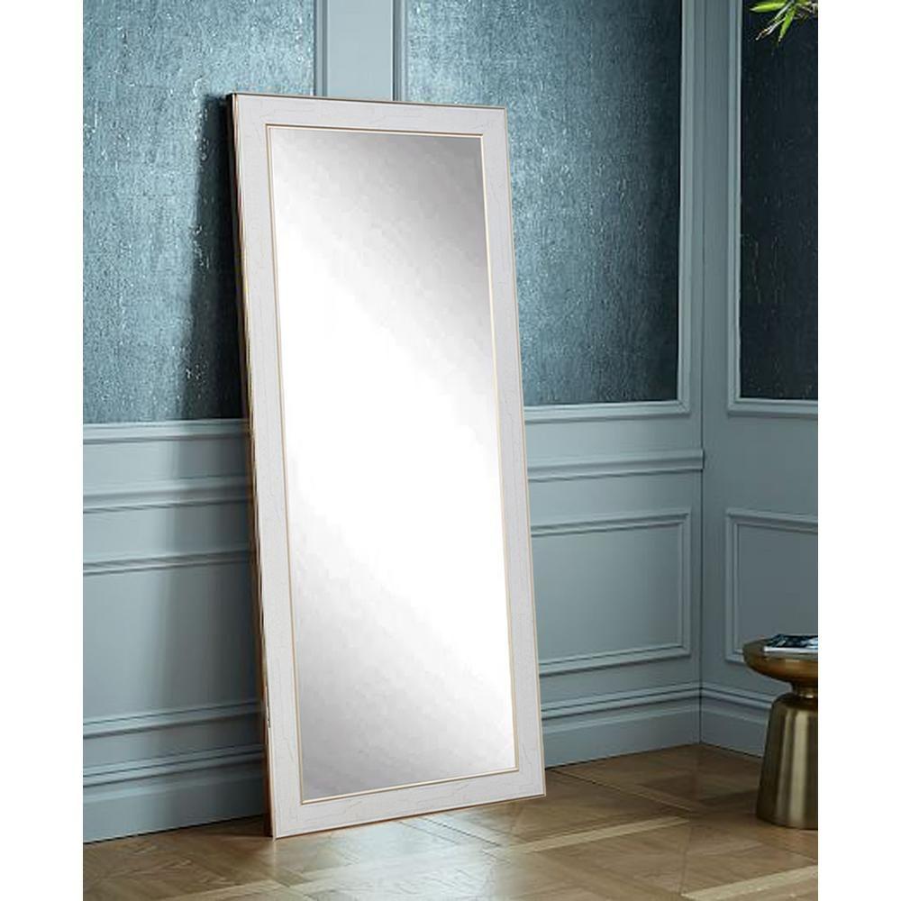 Brandtworks White Cracked Gold Decorative Floor Mirror Av43tall