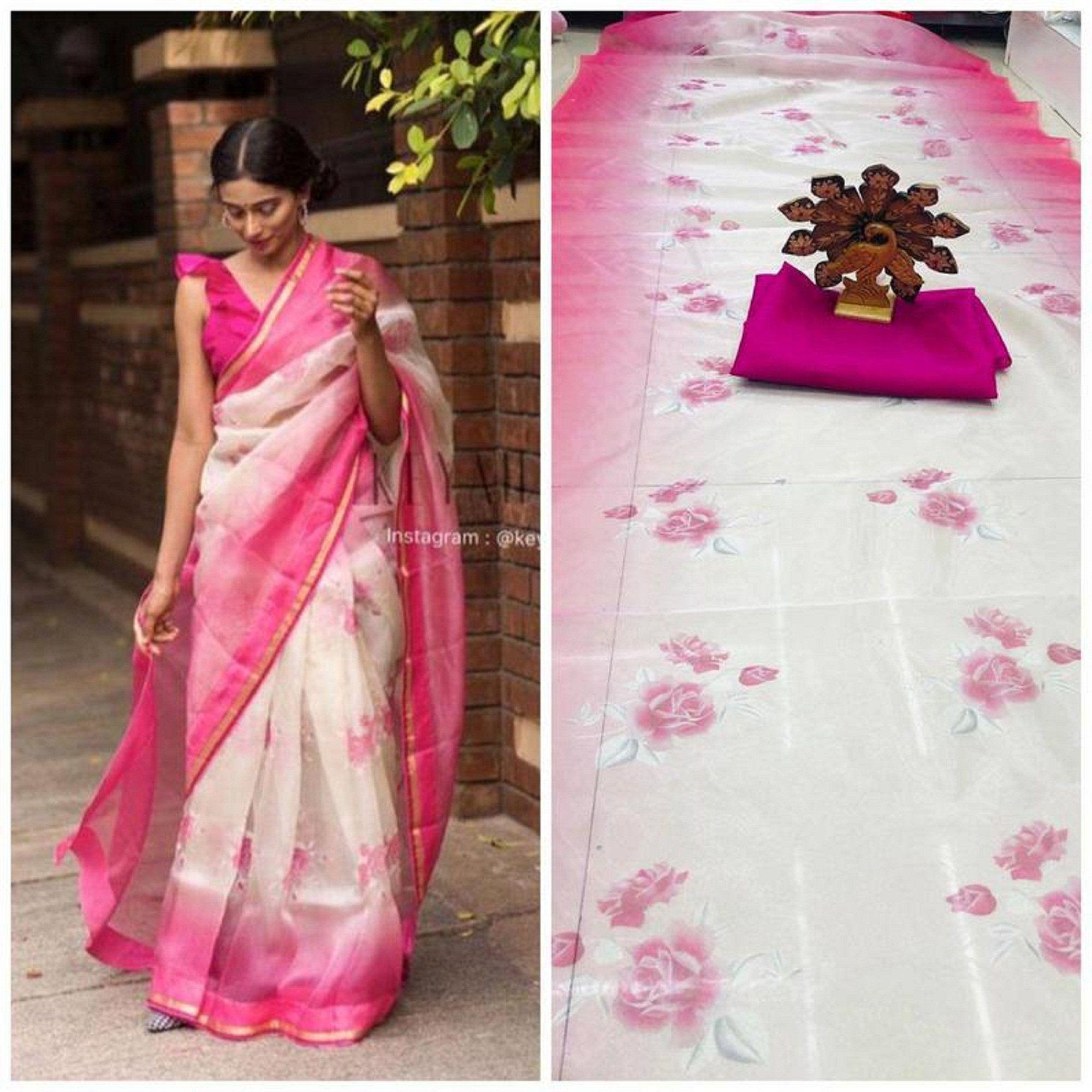 Pink Colore Bollywood Style Designer Organza Silk Saree Party Wear Digital Printed Organza Silk Saree Exclusive Sari With Digital Print