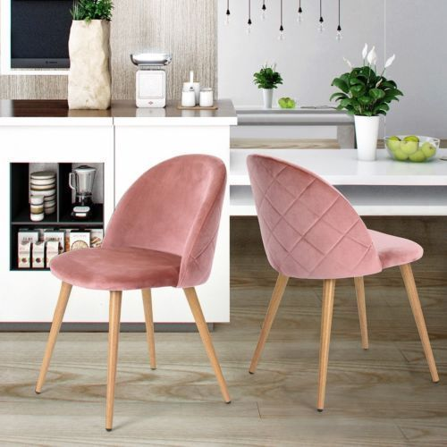 Set of 2 Dining Chairs Soft Velvet Cushion Seat Wooden Style Metal ...