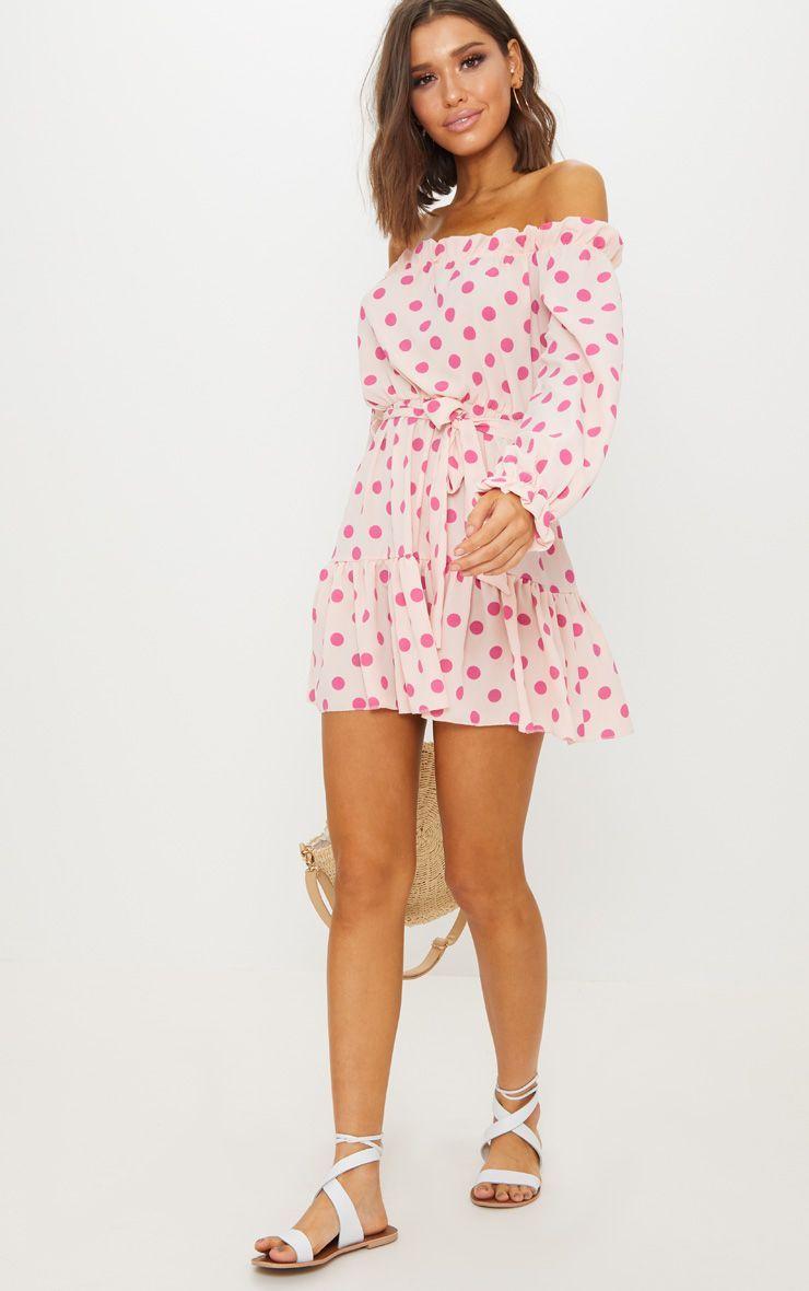 b026f7d541339 Dusty Pink Polka Dot Bardot Tie Waist Shift Dress
