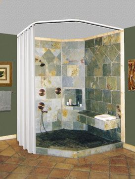 neo-angle bath ceiling to floor shower rod...considering this as an