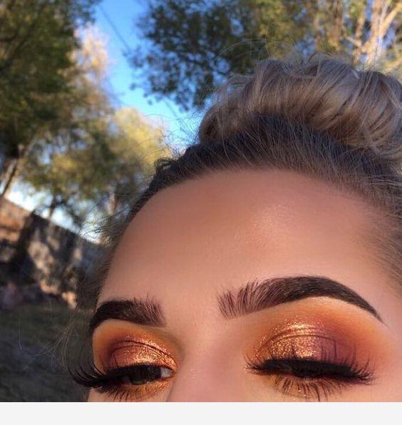 Photo of Bronze eye makeup updo