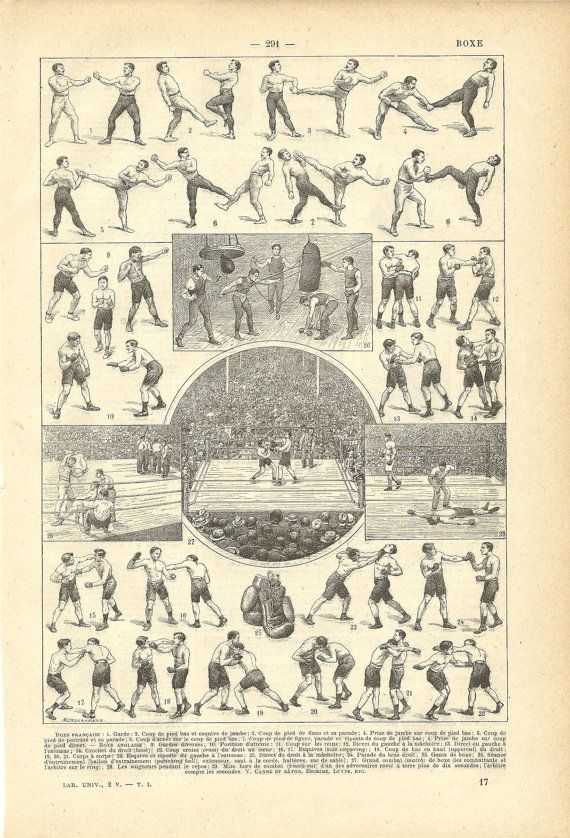 1922 Poster Boxing French Dictionary Illustration