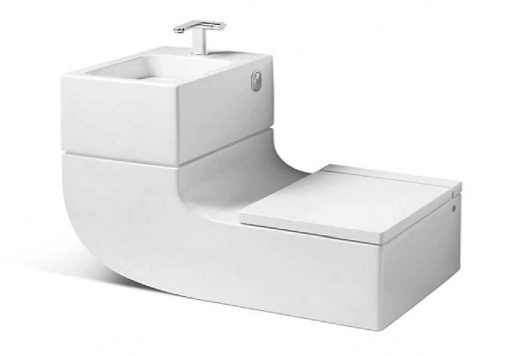 Wall Hung Toilet Porcelain With Integrated Hand Basin