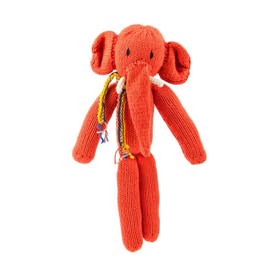 Kenana Stofftiere Orangeroter Elefant Stofftier, Bio Baumwolle 28 cm - Kinder Kenana Stofftiere - Handmade