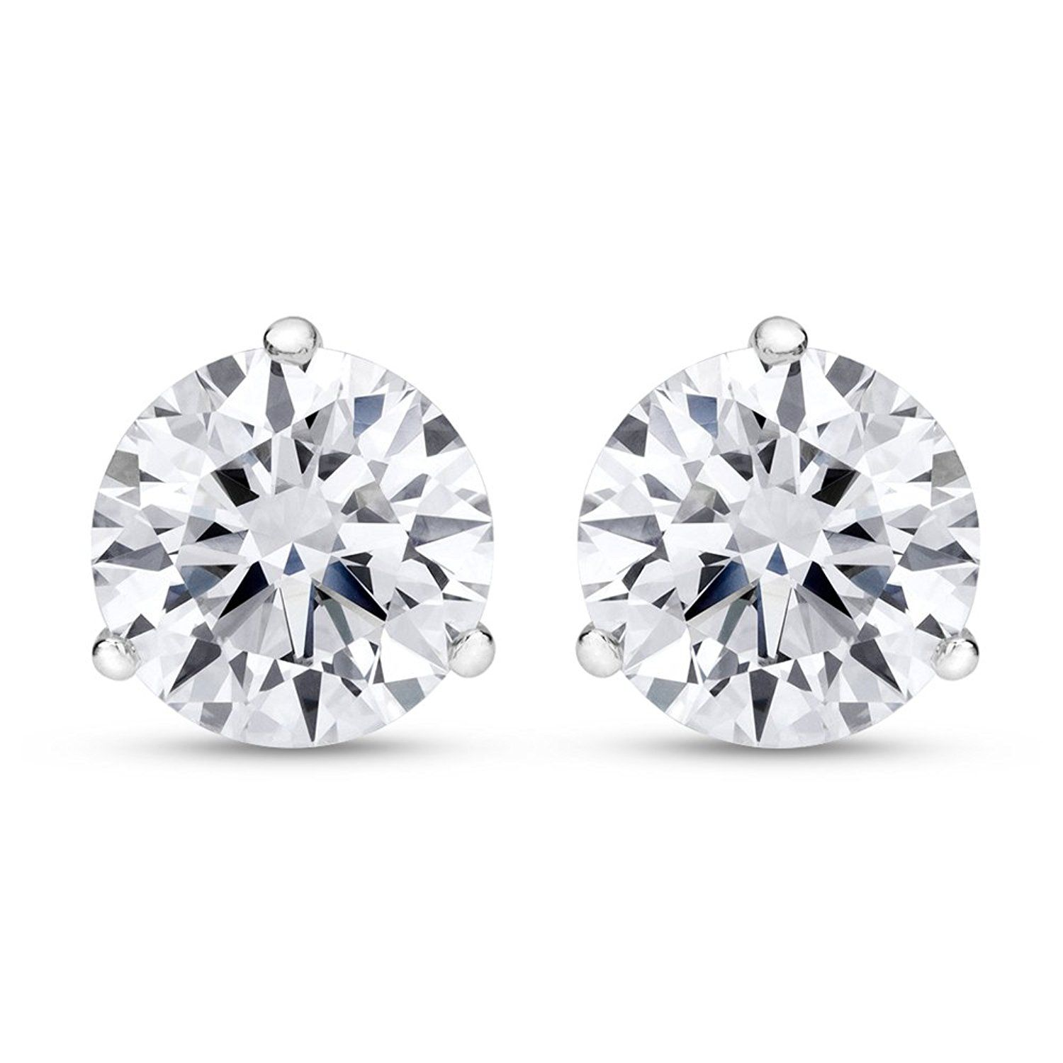 platinum watch stud earrings round shape prong diamond brilliant screw back