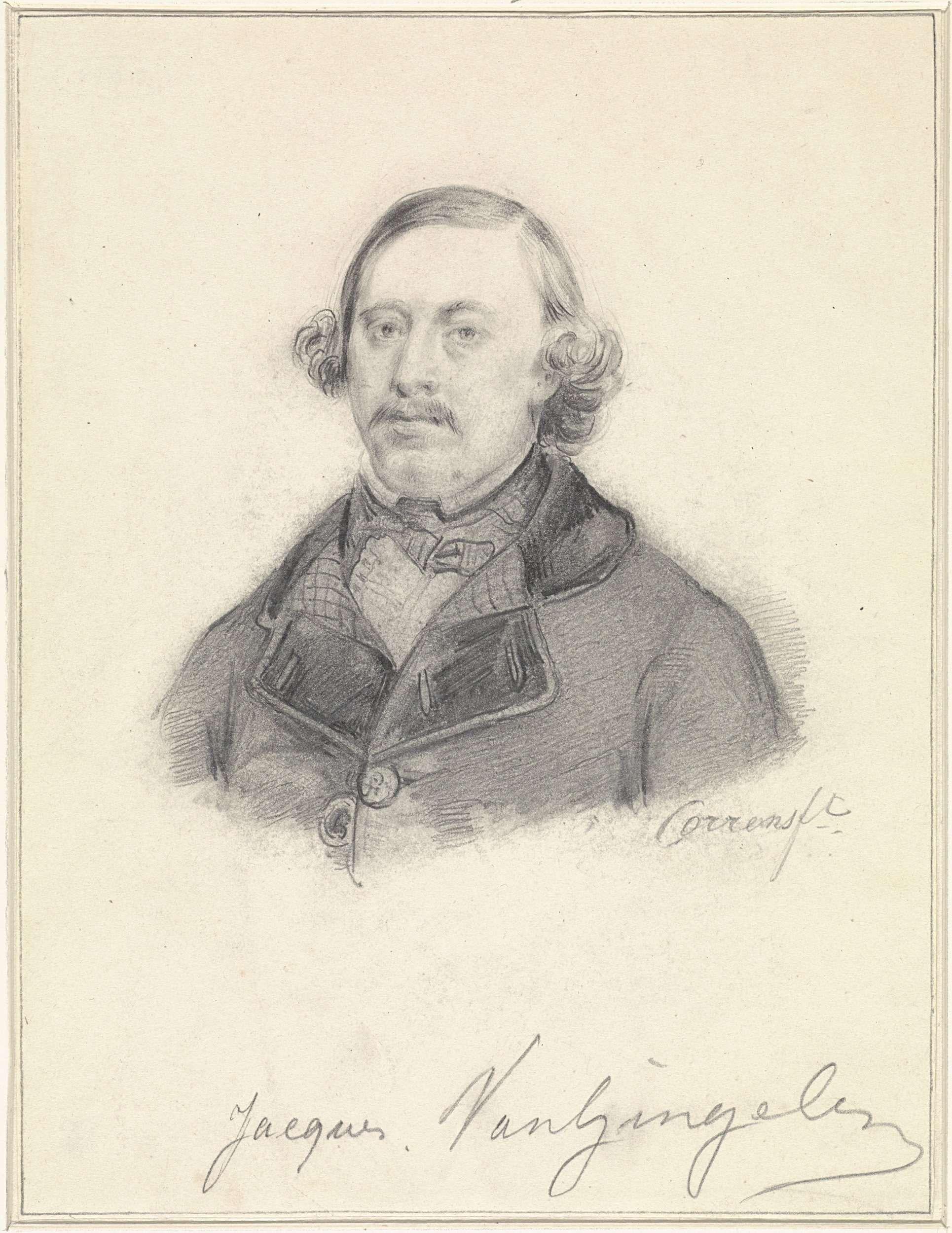 Jozef Cornelius Correns | Portret van Jacques van Gingelen, Jozef Cornelius Correns, 1840 - 1842 | Ontwerp voor een prent.