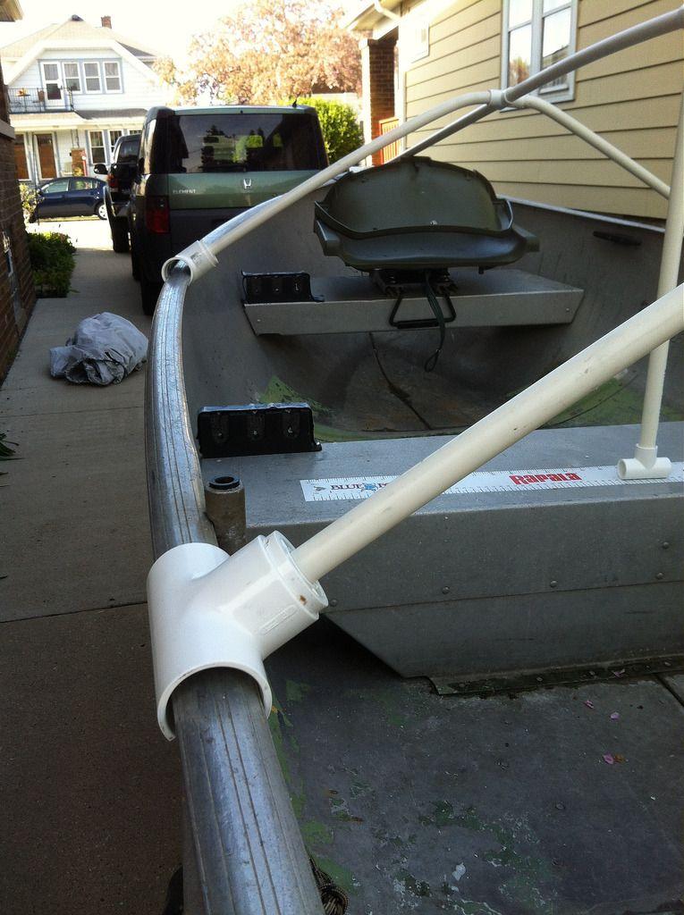 Fourtitude Com Diy Boat Cover Or Tarp Support Boat Blinds Diy Boat Aluminum Fishing Boats