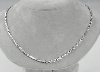 1 50ct Round Vs1 Half Way Diamond Tennis Graduate Necklace 18k White Gold 16 5 Diamond Tennis Necklace Necklace Graduation Necklace