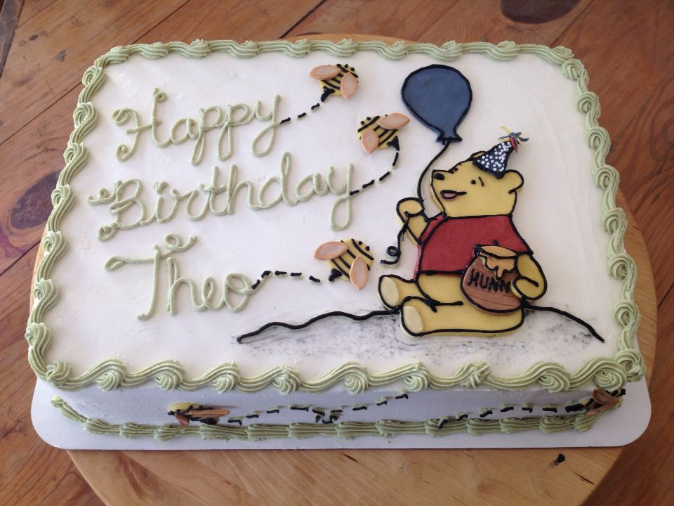 Adorable Winnie the Pooh double layer sheet cake Naturally dyed
