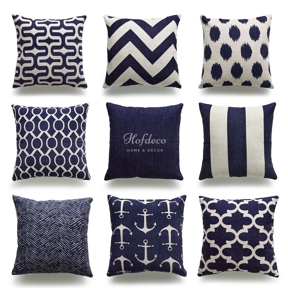 Hofdeco Throw Pillow Cover Navy Blue Nautical Coastal Geometric Cushion Cover #Hofdeco #Beach