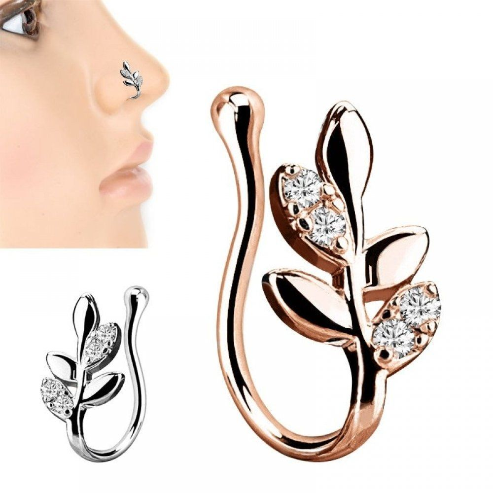Copper Crystal Leaves False Nose Ring #nosering