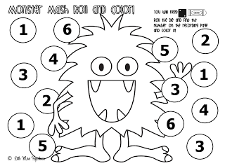 Monster mats--roll dice and color in numbers 1-12