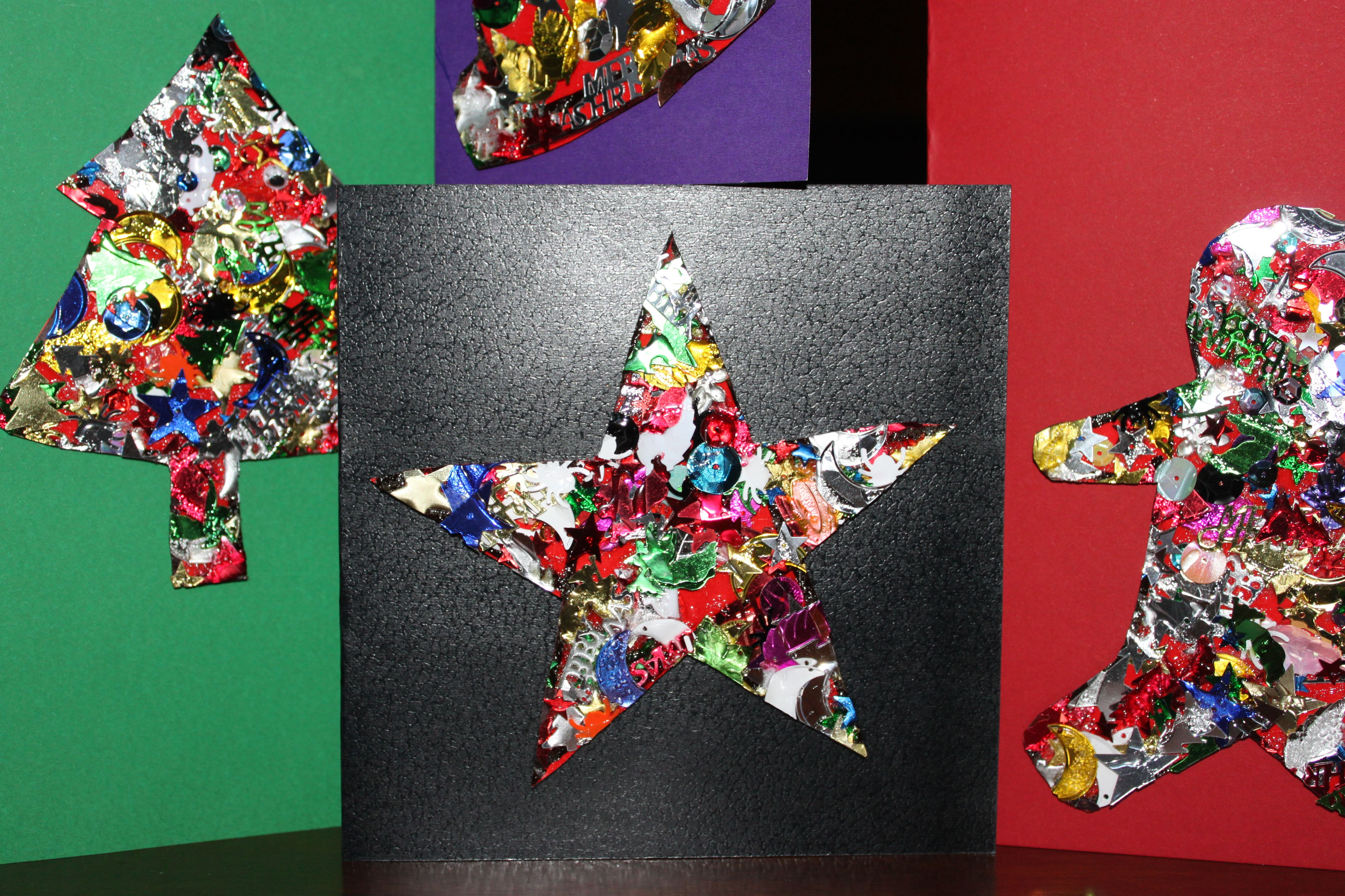 Home Made Christmas Cards Kids Craft cute, easy. sequins