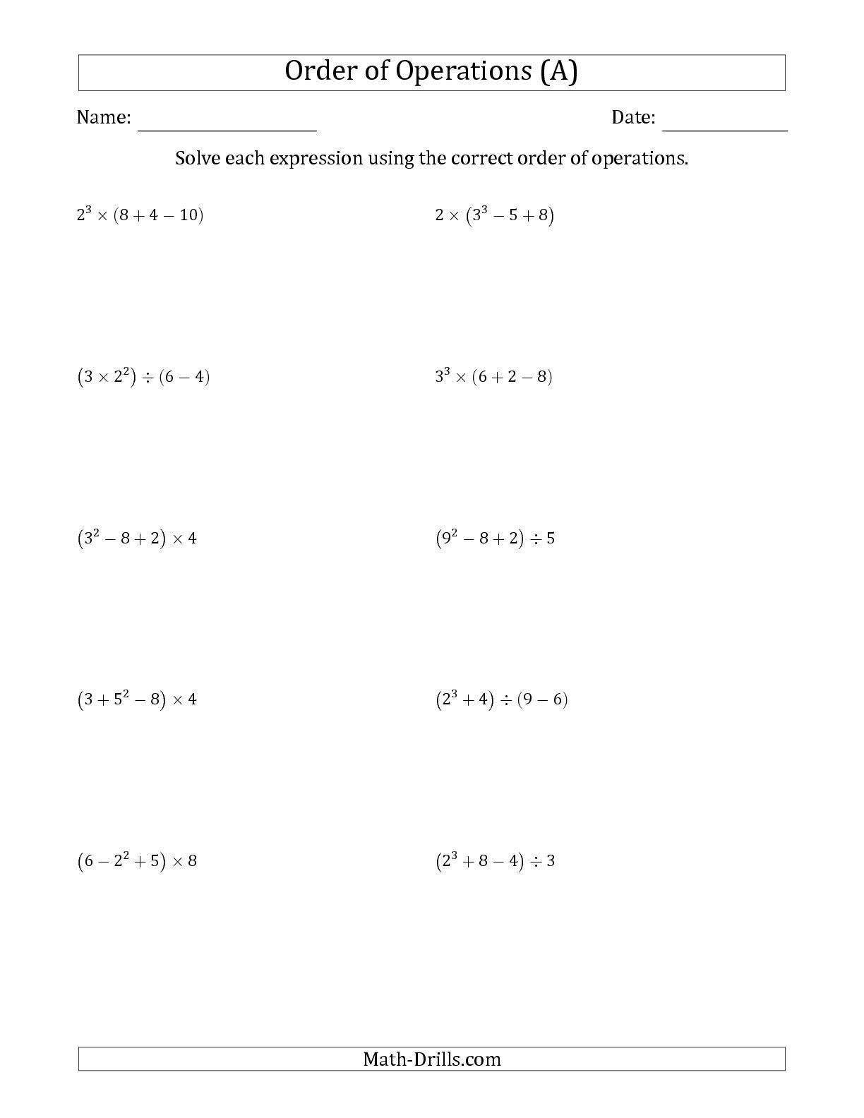 Improved The Order Of Operations With Whole Numbers Four Steps A Math Worksheet From The