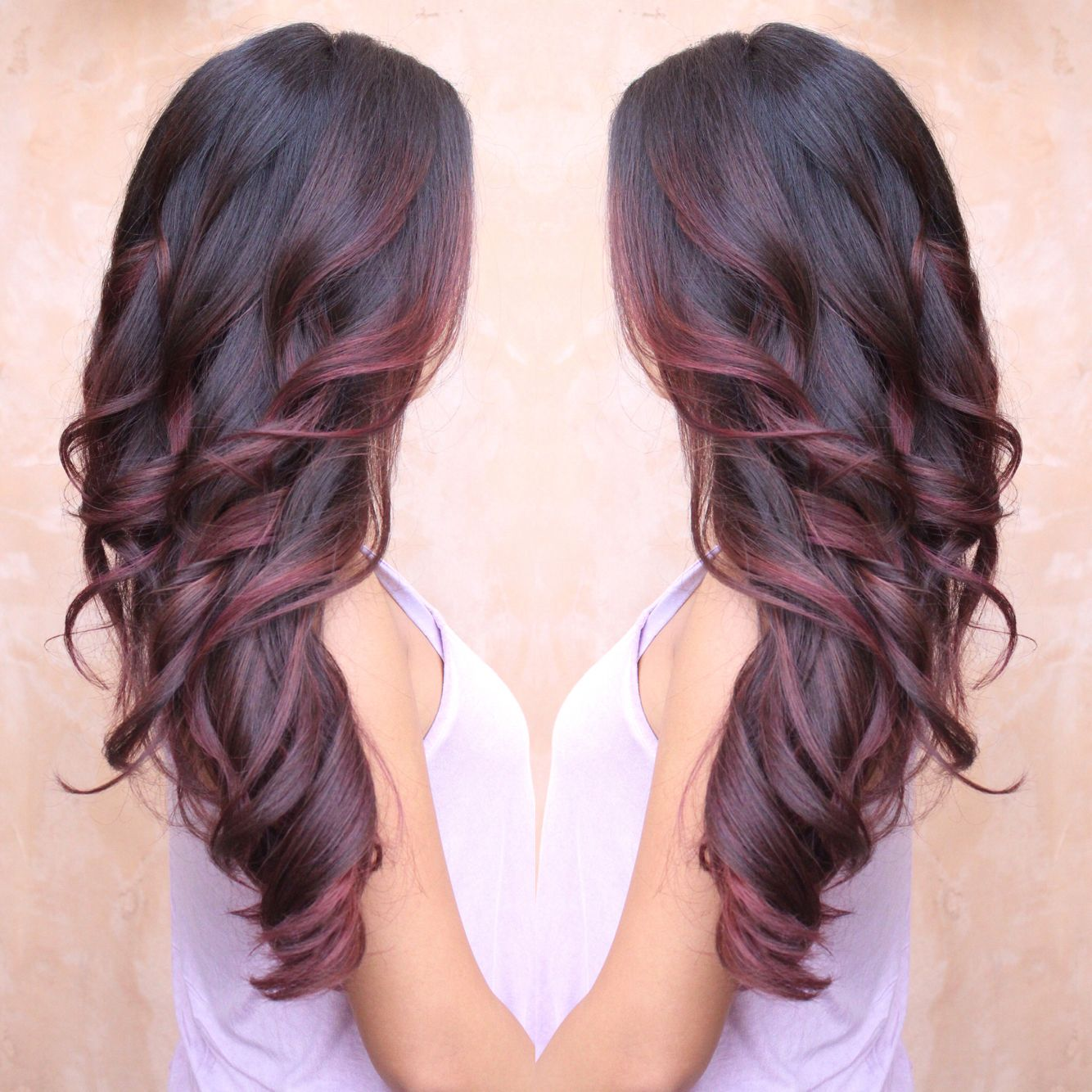 Burgundy and red colormelt balayage done by melisa castillo