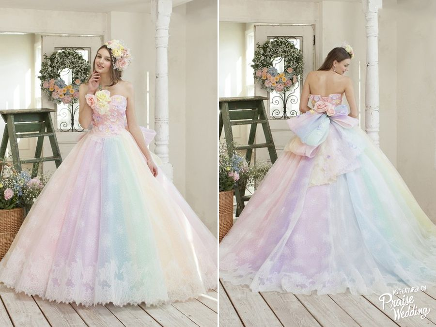 Utterly blown away by this rainbow pastel gown from Nicole ...