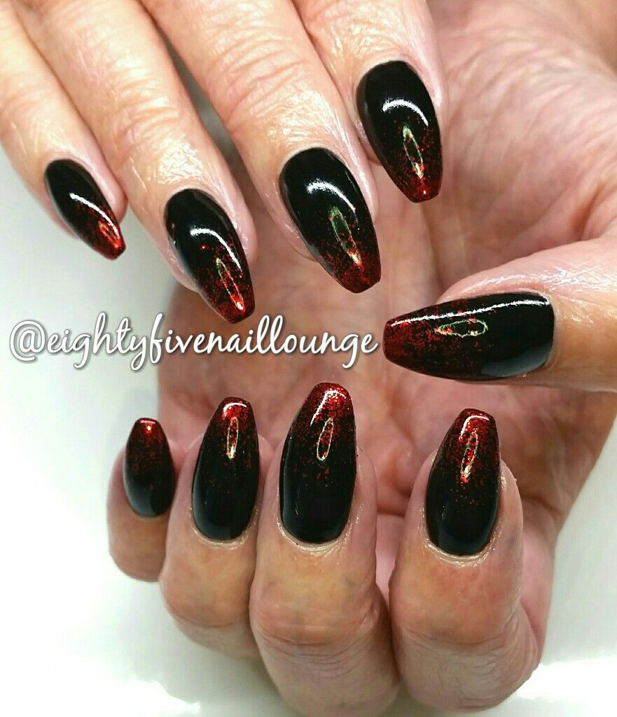 eightyfivenaillounge - Black and Red coffin acrylic Nails. Created ...