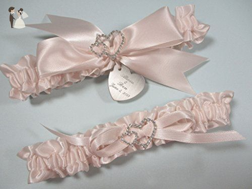 White Wedding Garter with Linked Hearts and Personalized Engraving