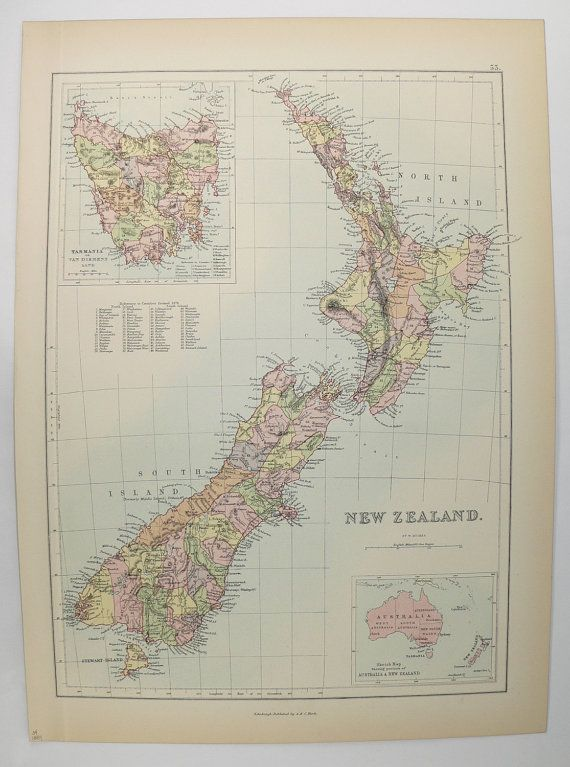 New Zealand Map 1884 A C Black Map, North Island, South ...