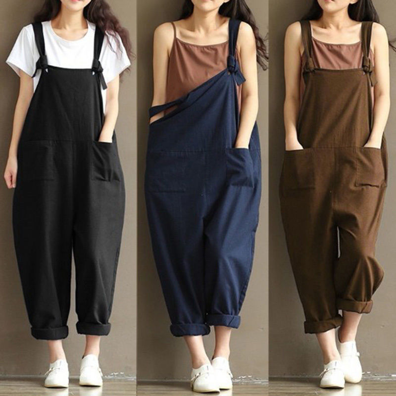 a1a01b964295 Fashion Women Denim Suspender Cotton Trousers Loose Pants Overall Jeans  Jumpsuit