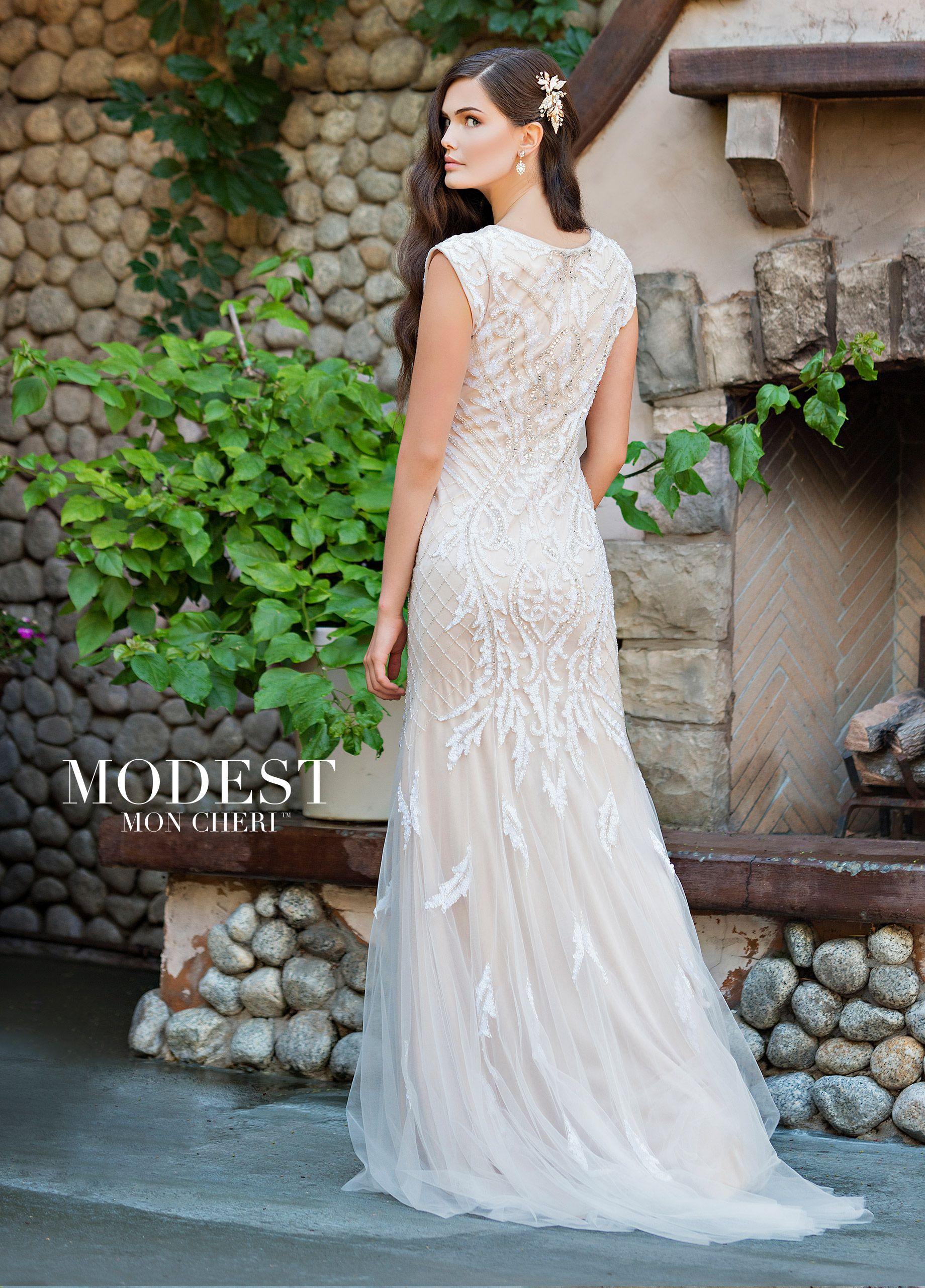 Modest Fit & Flare Wedding Dress with a Scoop Neckline