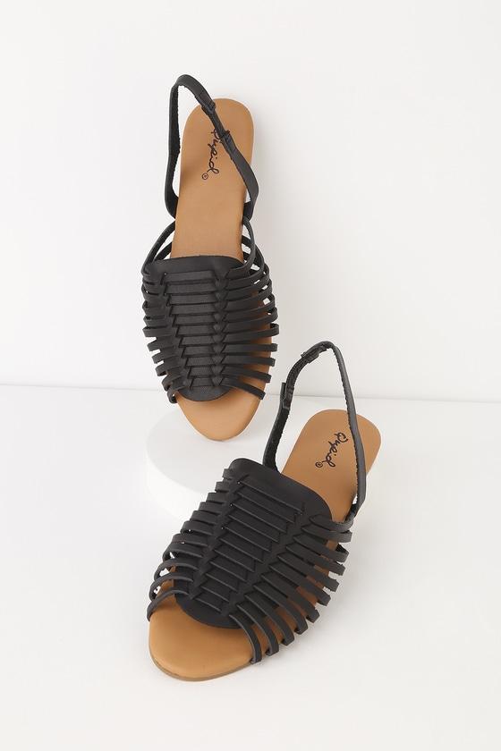 Lulus | Mazie Black Slingback Flat Sandal Heels | Size 7