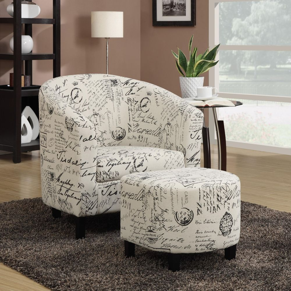 Contemporary pc french script fabric accent chair with ottoman set