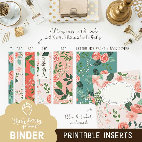 Binder cover printable: CORAL FLOWERS - Set of 5  ✚ This binder cover set is also available with monogram initials: https://www.etsy.com/listing/458920402/  Transform your office binder, teacher planner or school planner into something you can be proud of with these printable binder inserts featuring a stunning botanical flowers theme in coral. Simply print them out on either Letter size (US) or A4 (International) paper, cut the spines out and you're good to go! The set includes spines in…