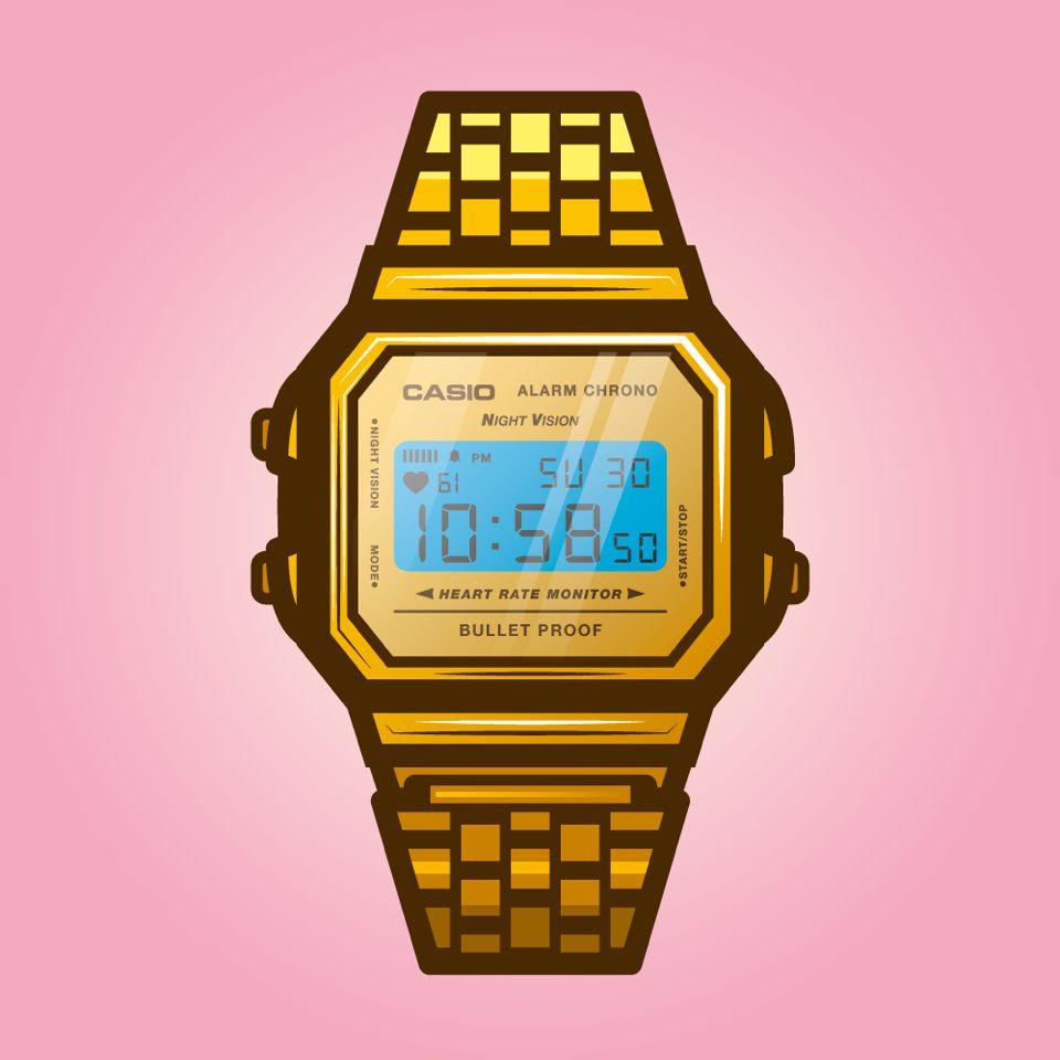 Quick Vector Watch Casio Gold Retro Digital Graphic Artwork Vectorart Papeis De Parede Para Iphone Almofadas Estampas