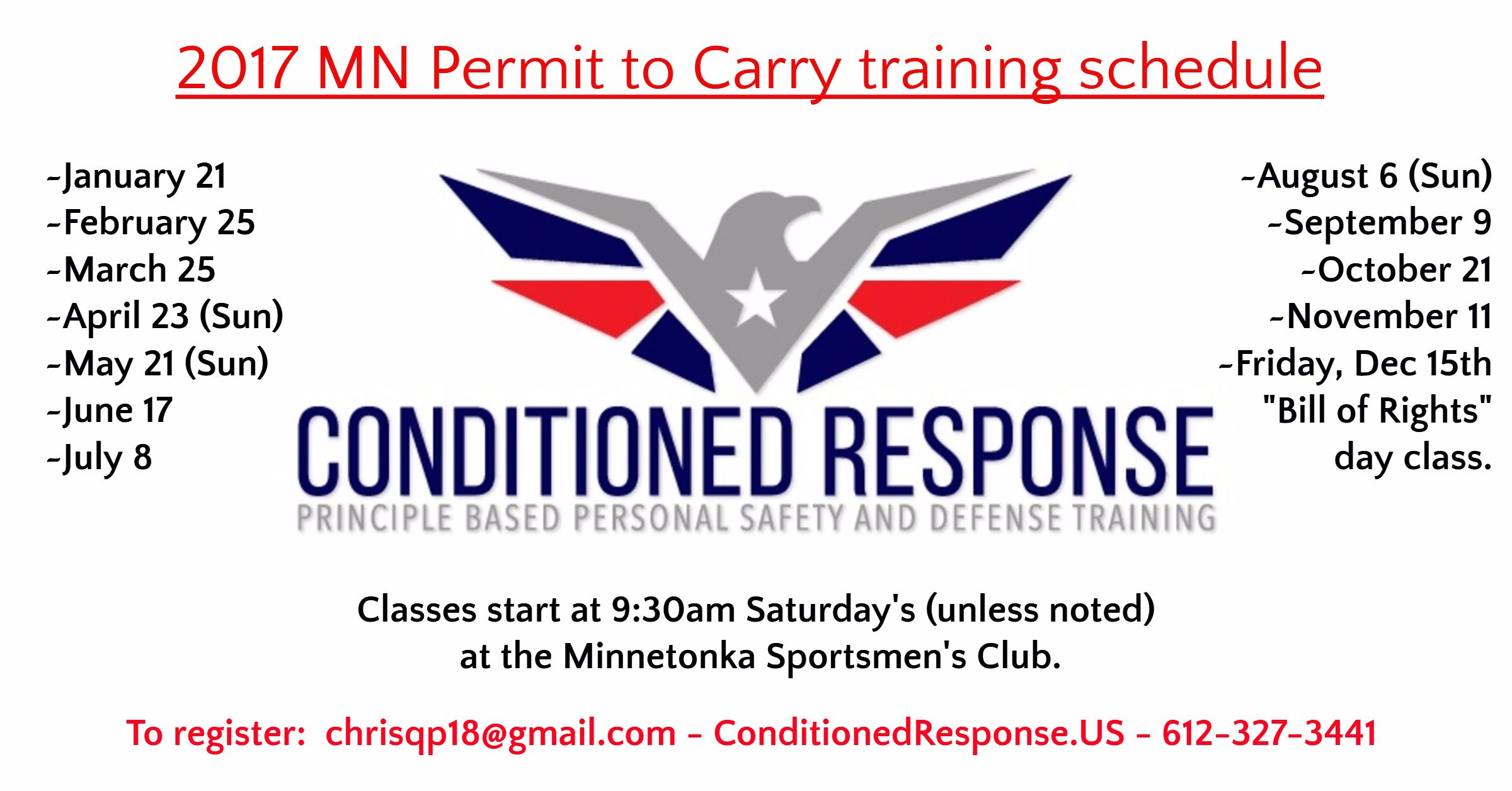 2017 MN Permit to Carry training schedule / January 21