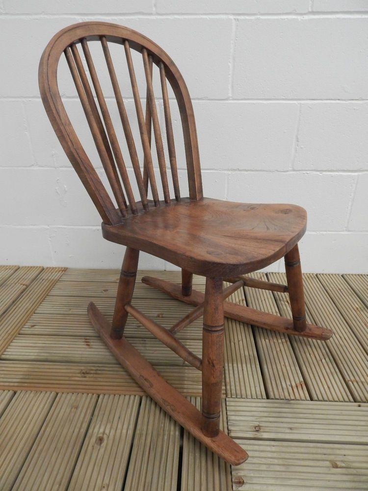 Lovely Antique Wooden Elm Stick Back Rocking Chair *Local