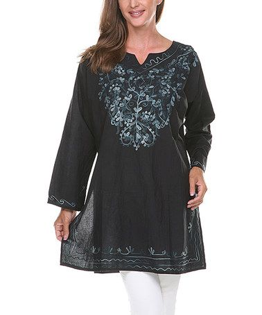 Love this Black & Gray Embroidered Notch Neck Tunic by Ananda's Collection on #zulily! #zulilyfinds