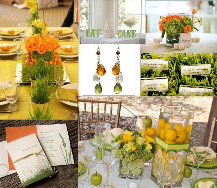 inspiration board green yellow orange green wedding wedding